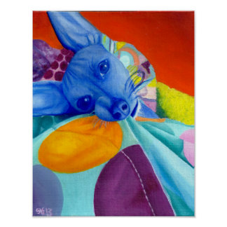 Dog Portrait in Abstract Bright Colors Poster