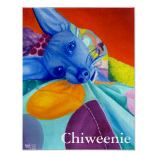 Dog Portrait in Abstract Bright Colors with Text Poster