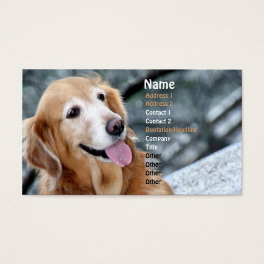 Dog Portrait/Smiling Golden Retriever Photography Business Card