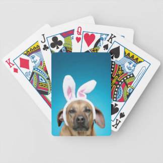 Dog portrait wearing Easter bunny ears Bicycle Playing Cards