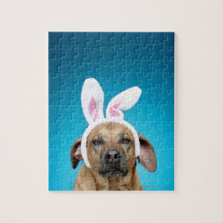 Dog portrait wearing Easter bunny ears Jigsaw Puzzle