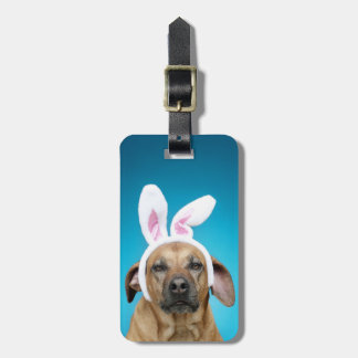 Dog portrait wearing Easter bunny ears Luggage Tag