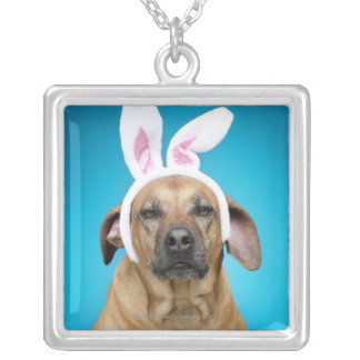 Dog portrait wearing Easter bunny ears Silver Plated Necklace