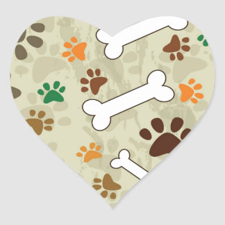 dog pows and bone heart sticker