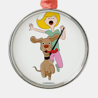 Dog Pulling Woman Cartoon Christmas Ornament