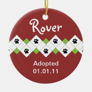 Dog/Puppy Adoption Announcement Round Ceramic Decoration