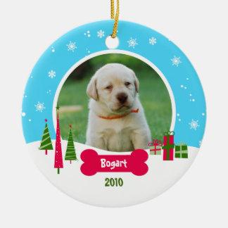 Dog / Puppy Christmas - Winter Wonderland Round Ceramic Decoration