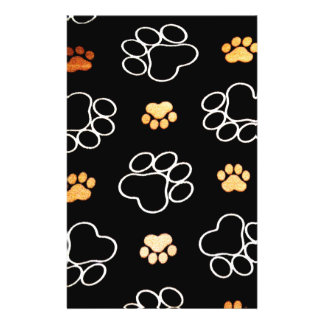 Dog Puppy Paw Prints Gifts Black and Gold 14 Cm X 21.5 Cm Flyer