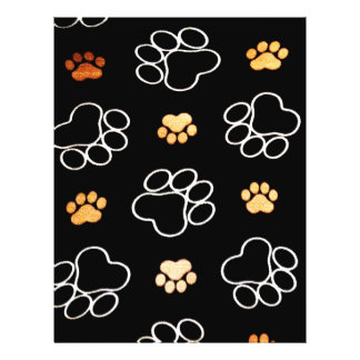 Dog Puppy Paw Prints Gifts Black and Gold 21.5 Cm X 28 Cm Flyer