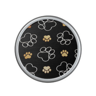 Dog Puppy Paw Prints Gifts Black and Gold Bluetooth Speaker