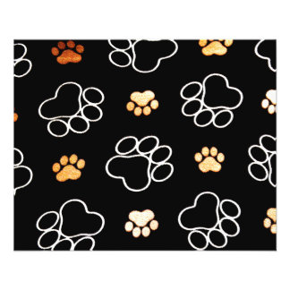Dog Puppy Paw Prints Gifts Black and Gold 11.5 Cm X 14 Cm Flyer