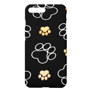Dog Puppy Paw Prints Gifts Black and Gold iPhone 7 Plus Case