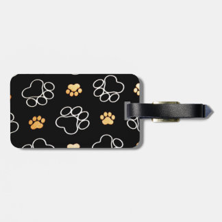 Dog Puppy Paw Prints Gifts Black and Gold Luggage Tag