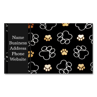 Dog Puppy Paw Prints Gifts Black and Gold Magnetic Business Cards
