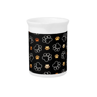 Dog Puppy Paw Prints Gifts Black and Gold Pitchers