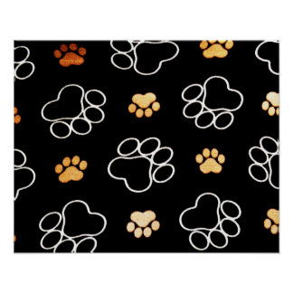 Dog Puppy Paw Prints Gifts Black and Gold Poster