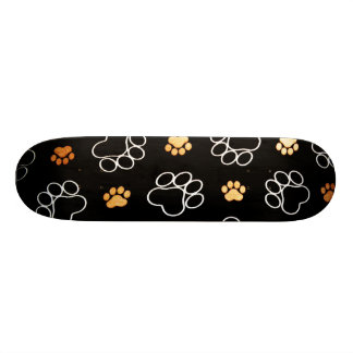 Dog Puppy Paw Prints Gifts Black and Gold 21.6 Cm Old School Skateboard Deck