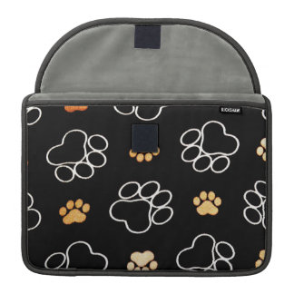 Dog Puppy Paw Prints Gifts Black and Gold Sleeve For MacBook Pro