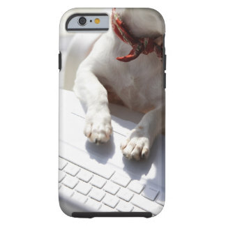 Dog putting his hands on a laptop tough iPhone 6 case