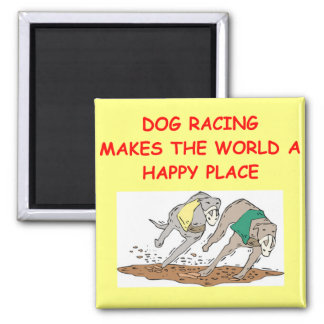 dog racing square magnet