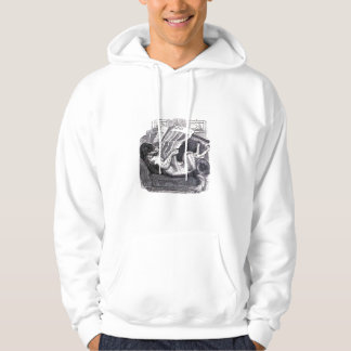 """Dog Reading Newspaper"" Vintage Illustration Hoodie"