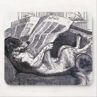 """Dog Reading Newspaper"" Vintage Illustration Mouse Mat"