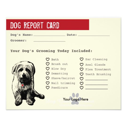 Dog Report Card for Dog Groomers 11.5 Cm
