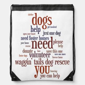 Dog Rescue Wordie Drawstring Bag