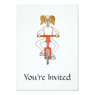 Dog Riding a Bike. 13 Cm X 18 Cm Invitation Card