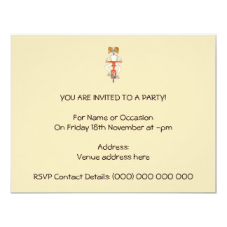 Dog Riding A Red Bike. 4.25x5.5 Paper Invitation Card