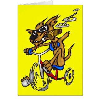 Dog Riding Bike Greeting Card