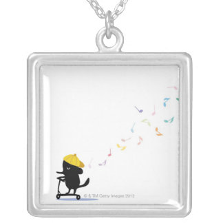 Dog Riding Scooter Silver Plated Necklace