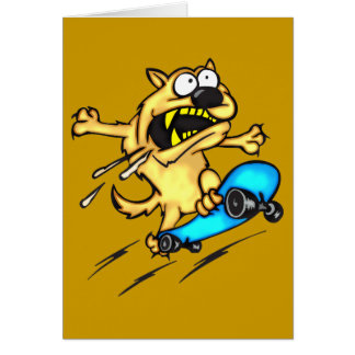 Dog Riding Skateboard Greeting Cards
