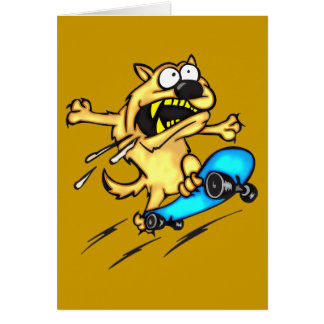 Dog Riding Skateboard Note Card