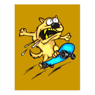 Dog Riding Skateboard Postcard