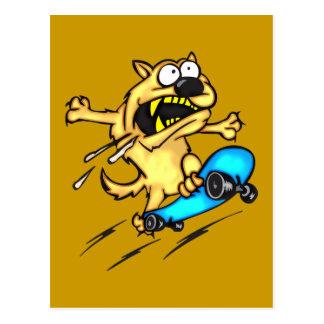 Dog Riding Skateboard Postcard