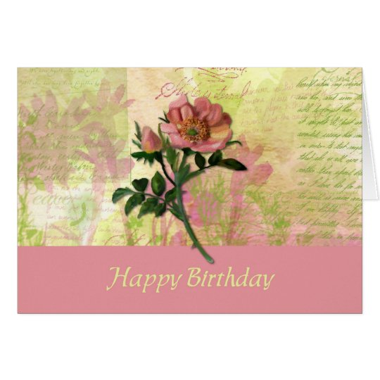Dog Rose Birthday Card