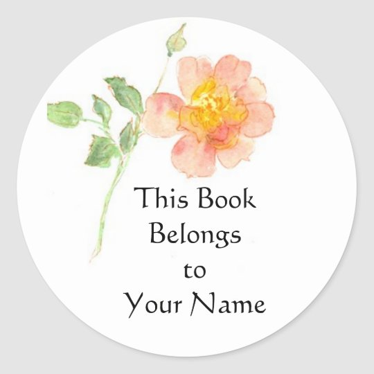 Dog Rose Bookplate Classic Round Sticker