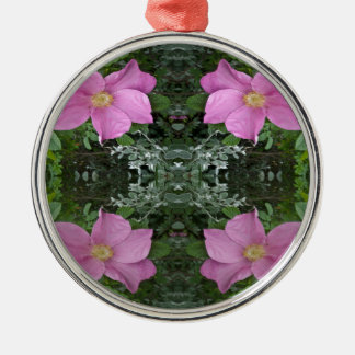 Dog roses in reflect christmas ornament