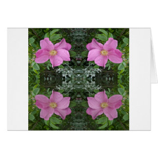 Dog roses in reflect greeting card