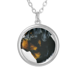 dog-rottweiler silver plated necklace