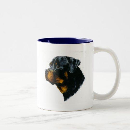 dog-rottweiler Two-Tone coffee mug