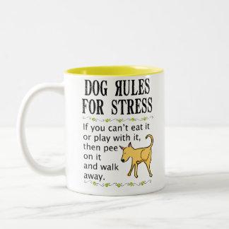Dog Rules for Stress Two-Tone Coffee Mug