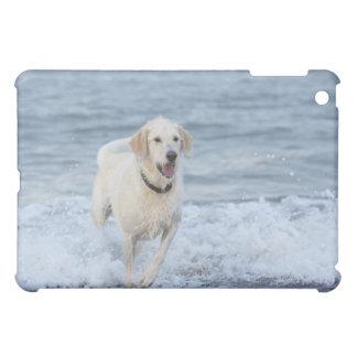 Dog running in water at beach. iPad mini cover