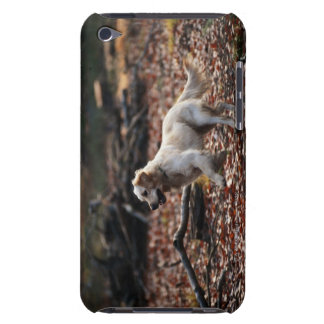 Dog running on dry leaves iPod touch case