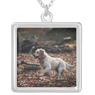 Dog running on dry leaves silver plated necklace