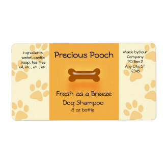 Dog Shampoo Soap Label (orange) Shipping Label
