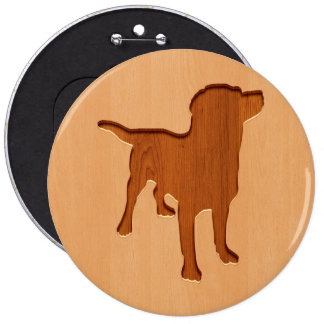 Dog silhouette engraved on wood design 6 cm round badge