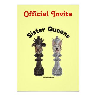 Dog Sister Chess Queens 13 Cm X 18 Cm Invitation Card