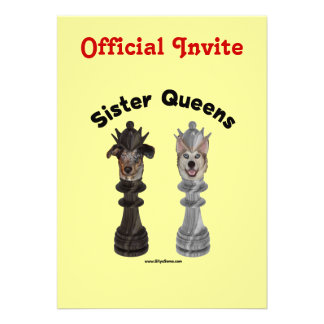 Dog Sister Chess Queens Invitations